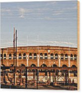 Franklin Field In The Morning Wood Print