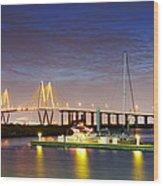 Fred Hartman Bridge From Bayland Marina - Houston Texas Wood Print