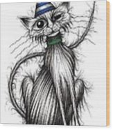 Fred The Cat Wood Print