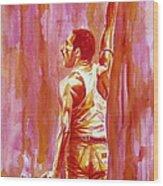 Freddie Mercury Singing Portrait.3 Wood Print