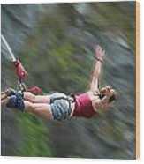 Free As A Bird Bungee Jumping Wood Print