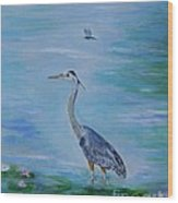 Free Spirit Blue Heron Wood Print