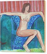 Dare To Be Bare In A Big Green Chair Wood Print