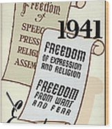 Freedom Everywhere In The World Wood Print