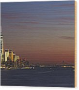 Freedom Tower And Lower Manhattan On The Hudson At Night Wood Print
