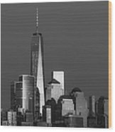 Freedom Tower Glow Bw Wood Print