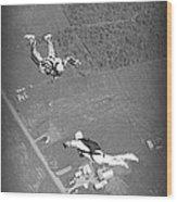 Freefalling Nova Scotia Skydivers In Stewiacke Wood Print
