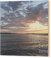 Freeport Cloudy Summertime Sunset Wood Print