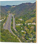 Freeway Sepulveda Pass Traffic Bel Air Crest California Wood Print