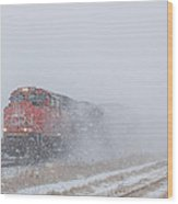Train In Blizzard Snow Wood Print