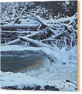 Freezing Dam Wood Print
