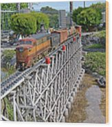 Freight Train Bridge Crossing Wood Print