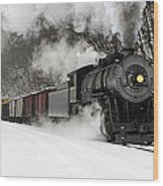 Freight Train With Steam Locomotive Wood Print