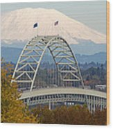 Fremont Bridge And Mount Saint Helens Wood Print