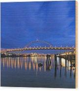 Fremont Bridge Blues Wood Print