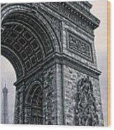 French - Arc De Triomphe And Eiffel Tower II Wood Print