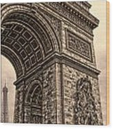 French - Arc De Triomphe And Eiffel Tower IIi Wood Print