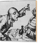 French 18th Century Engraving Of Two Alcoholics Wood Print