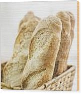 French Baguette In Basket Wood Print