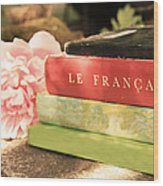 French Books And Peony Wood Print