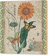 French Botanical Damask-a Wood Print