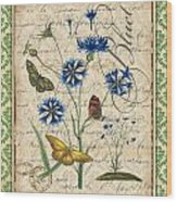 French Botanical Damask-b Wood Print