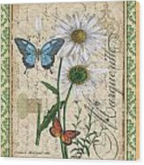 French Botanical Damask-d Wood Print