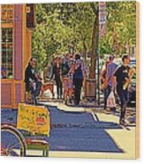 French Bread On Laurier Street Montreal Cafe Scene Sunny Corner With Vente De Garage Sign Wood Print