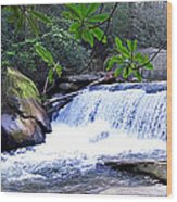 French Broad River Waterfall Wood Print