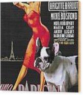 French Bulldog Art - Una Parigina Movie Poster Wood Print