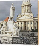 French Cathedral And Statue Gendarmenmarkt Germany Wood Print