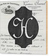 French Champagne Monogram Wood Print