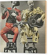 French Clown Musicians Vintage Art Reproduction Tint Wood Print