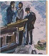 French Fishermen At Beach At Sainte Adresse Wood Print