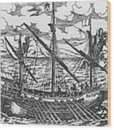 French Galley Operating In The Ports Of The Levant Since Louis Xi  Wood Print