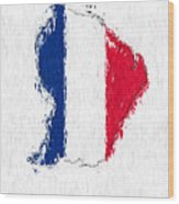 French Guiana Painted Flag Map Wood Print