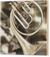 French Horn Antique Classic Painting In Color 3428.02 Wood Print