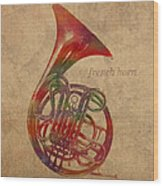 French Horn Brass Instrument Watercolor Portrait On Worn Canvas Wood Print