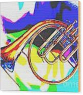 French Horn Painting Antique Classic In Color 3426.02 Wood Print