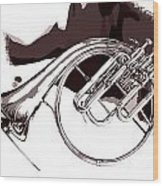 French Horn Painting Antique Classic In Sepia 3426.01 Wood Print