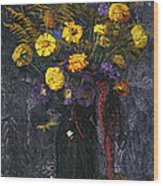 French Marigold Purple Daisies And Golden Sheaves Wood Print