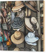 French Market Hats For Sale Wood Print