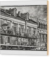 French Market View In Black And White Wood Print
