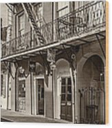 French Quarter Art And Artistry Sepia Wood Print