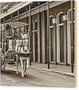 French Quarter Carriage Ride Sepia Wood Print