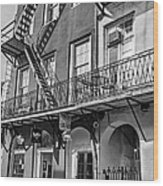 French Quarter Flair Bw Wood Print