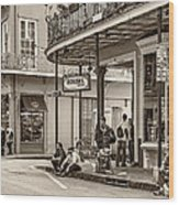French Quarter - Hangin' Out Sepia Wood Print