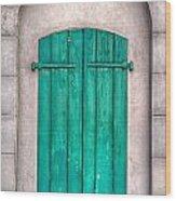 French Quarter Shutters Wood Print by Brenda Bryant
