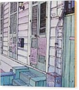 French Quarter Stoop 213 Wood Print by John Boles