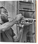 French Quarter Street Musician Wood Print